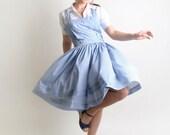 Summer Gingham Dress - Vintage Dorothy Gale Sky Blue and White Jumper - Large