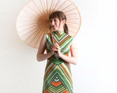 Vintage Chevron Dress - 1960s Go Go Tunic Dress in Citrus Stripes - Medium