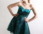 1980s Party Prom Dress Vintage Teal Green Strapless Mini Dress - Medium