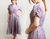 1950s Floral Dress - Spring Lavender and Plum Orchid White Sheer Day Dress - Large