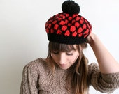 Vintage Beret Cap - Cherry Red and Black Japanese Knit Autumn Winter Crochet