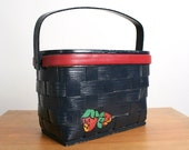 Vintage Picnic Basket Caro Nan Hand Painted Strawberries