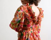 Vintage Floral Dress - 1960s Colorful Flower Maxi Dress - XS