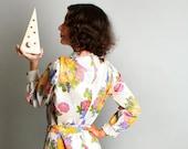 Vintage Maxi Dress - 1970s Leslie Pomer Dress Floral Maxi - Medium - Long Sleeve White