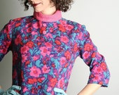 Vintage 1960s Dress - Hot Pink Psychedelic Magenta Twiggy Botanical Floral Tunic - Colorful Wool Small