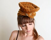 Vintage Turban Hat - Mustard Brown Velvet Wrap with Rhinestone Brooch