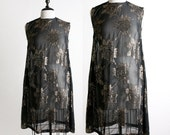 Vintage Golden Dress - Black Sheer Gold Thread Rose Print Mini Dress