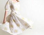 1950s Floral Dress - Vintage R & K Originals White Prairie Girl Cotton Day Dress - Medium christmasinjuly cij sale
