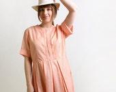 Vintage 1960s Dress - Summer Tangerine Gingham Spring Picnic Day Dress - XL 1X
