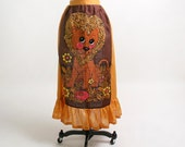 Vintage Lion Apron - 1970s Maxi Skirt Novelty Apron - Lambert The Sheepish Lion Leo Zodiac