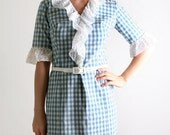 Vintage 1960s Wiggle Dress - Gingham in Sky Blue and White - Medium - Wizard Of Oz Costume