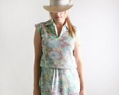 Vintage 1970s Floral Dress - Mint Green and Cocoa Brown - Large Summer Fashion