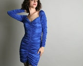Vintage 1980s Cocktail Dress - Sapphire Blue Ruched Party Dress - Skin Tight - Small Indigo