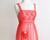 Vintage Lingerie Slip - Scarlet Red Vintage Lingerie Apron Sheer Maxi Slip - Small
