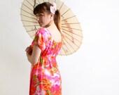 Vintage Hawaiian Maxi Dress - Bright Neon Rainbows and Waterfalls Spring Break Resort Dress by Pomare - Medium