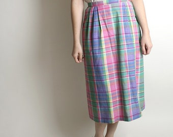 Vintage Plaid Pencil Skirt - Sweet Sunday Preppy Pastel Long 1980s Fashion