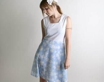Vintage 1970s Dress Sky Blue Dolly - Medium to Large - Pastel Head In The Clouds