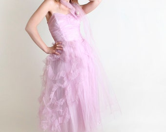 Vintage 1950s Prom Dress - Lavender Wedding Strapless Bride Dress - Small Radiant Orchid