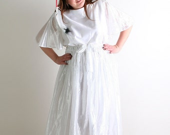1970s Maxi Goddess Dress - Vintage Silver White Shimmer Dress - Large XL