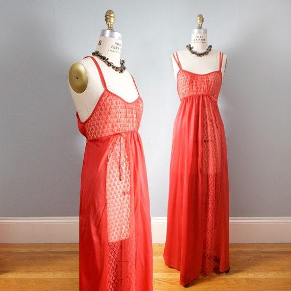 Lipstick Red Scandalous Floor Length Sheer Slip Dress