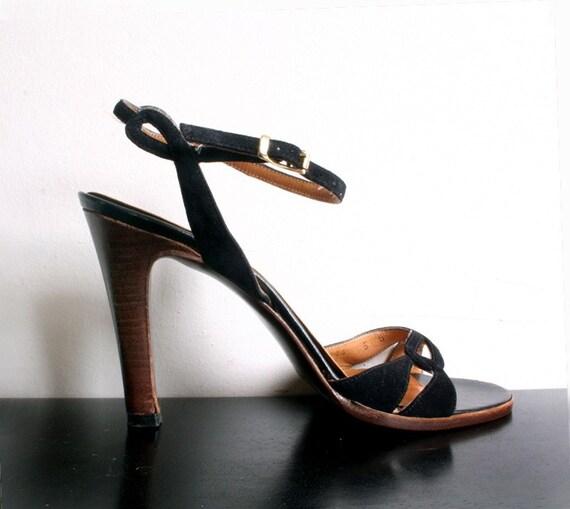 1970s Vintage Black Leather Heels - Dominic Romano Loop Design