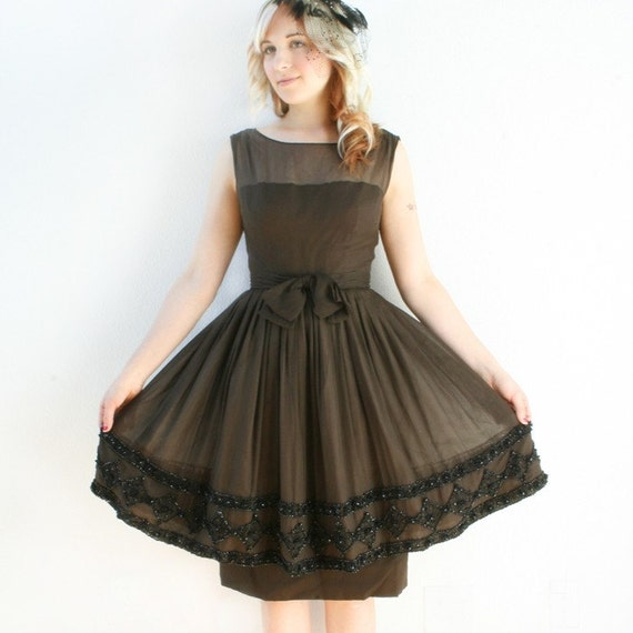 RESERVED - Stunning Saks Fifth Avenue 1960s Chocolate Brown Autumn Cocktail Dress