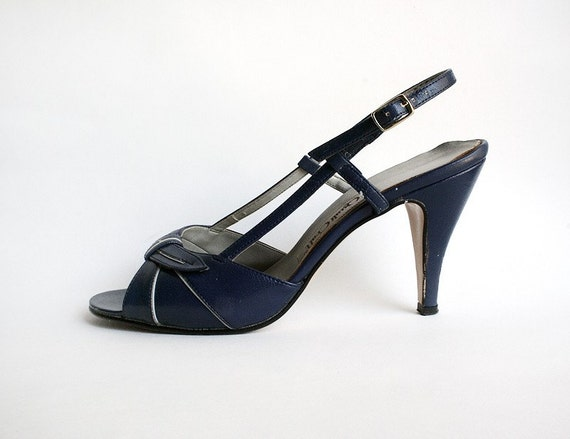Dark Navy Blue Summer Strappy Heels size 7 US by zwzzy on Etsy