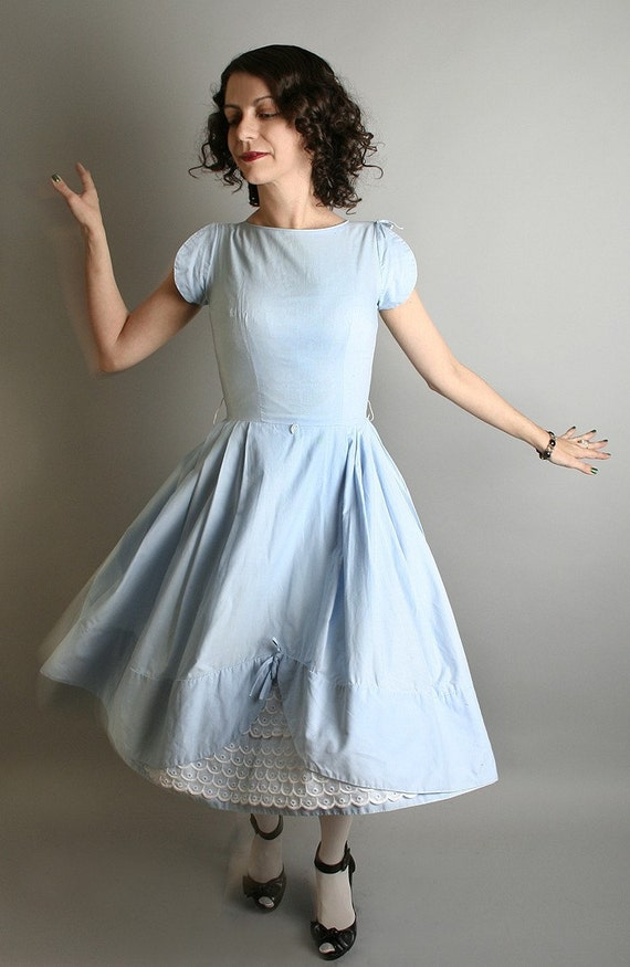 Adorable Sky Blue Vintage Tea Party Cupcake Scallop Dress