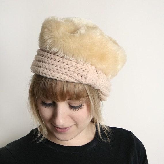 Vintage Fur Hat Faux Light Cocoa Cream Fuzzy Small