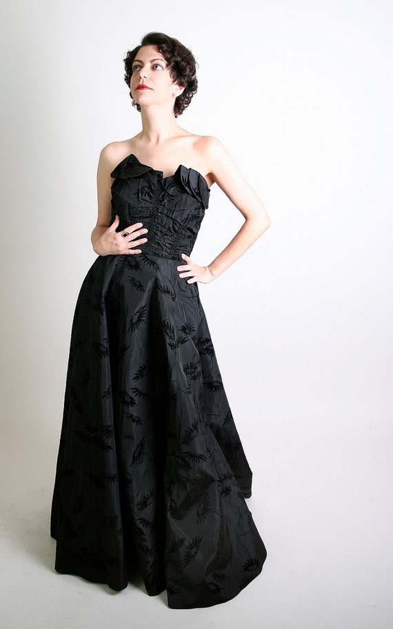 Vintage 1950s Dress Strapless Cocktail Black Gown Small Gothic Noir