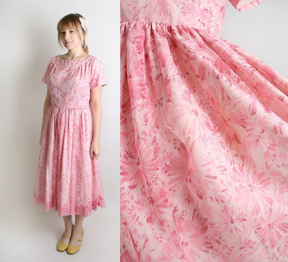 Vintage 1950s Pink Dress Sheer Floral Print Cotton Candy - Large Sweetheart Fashion