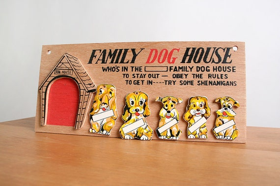 Vintage Dog House Pets Wall Hanging - Beware of Bad Dogs