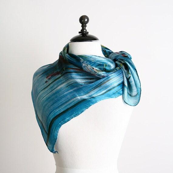 Vintage Ballerina Scarf - Teal Blue Ballet Design Scarf - Silk Like