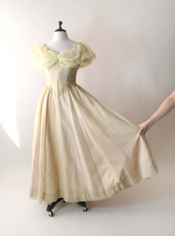 Vintage Prom Dress - Sheer Lemon Yellow Theater Costume Wedding Dress - AS IS