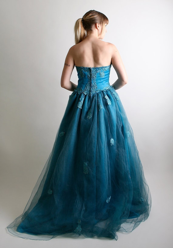 RESERVED - Vintage Strapless Wedding Dress Lush Teal Ice Queen - Medium Cool Waters Fashion