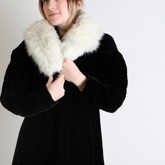 Vintage Fur Coat - Jet Black Night Velvet like Coat - Medium to Large  Luxurious