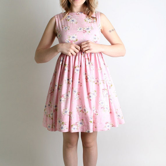 Vintage 1960s Mini Dress - Pastel Cotton Candy Pink Floral Print Babydoll - Small to Medium
