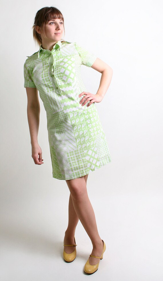 Vintage Mint Shirtdress - Pastel Green and White Country Girl Dress - Small to Medium