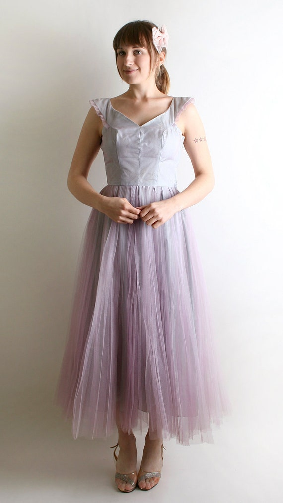 RESERVED - Vintage Prom Dress - Lavender Lilac Tulle Classic 1950s Prom Dress - Medium