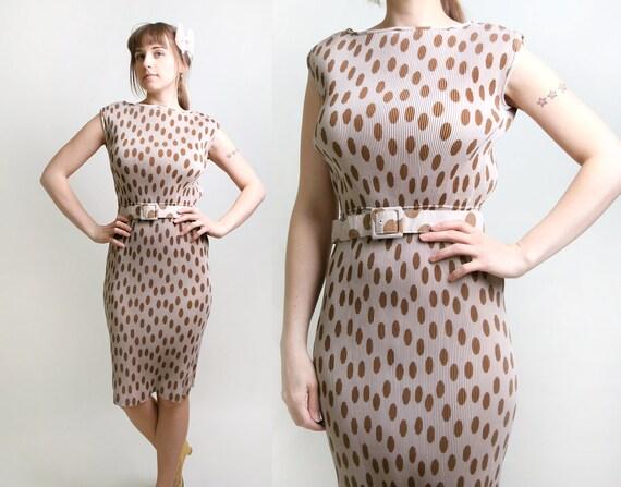 Vintage Polka Dot Dress - Pleated Day Dress in Cocoa Cream - Medium