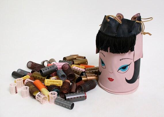 Vintage Hair Curler Bag - Pink Model Face 1960s Curling Set by Glamour House 1965