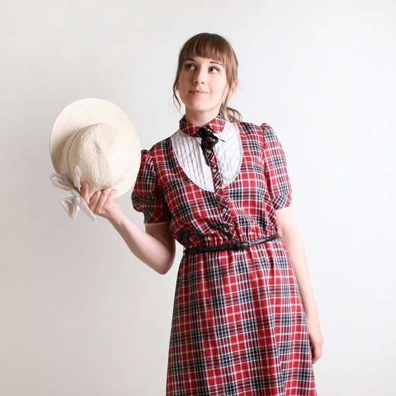 Vintage Plaid Dress - School Girl Style with White Bib and Black Ascot Bow Dolly - Medium to Large