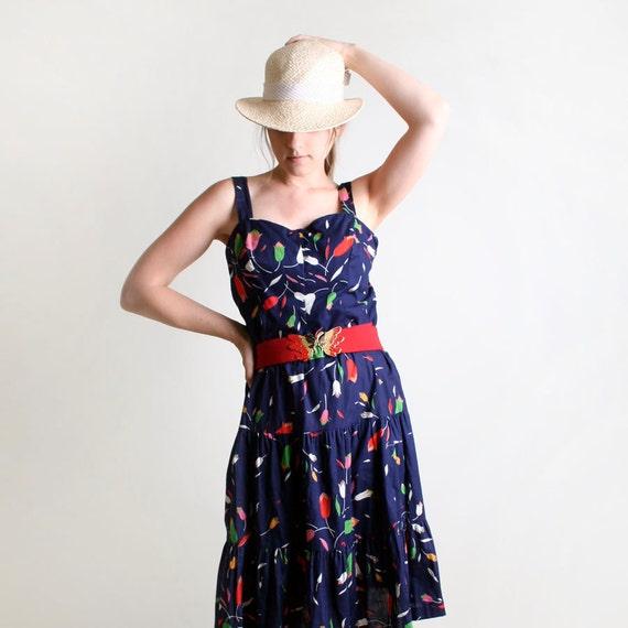 1970s Summer Sundress - Vintage Navy Blue Floral Print Cotton Dress - Large to XL