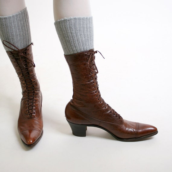 Vintage Witch Boots Caramel Brown Victorian Lace Up Oxford Boots - US Size 6.5 6 narrow Small Heeled