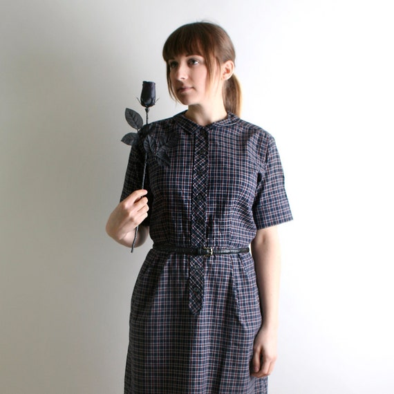 1950s Dress - Vintage Plaid Shirtdress in Navy Blue and Dark Maroon - Large
