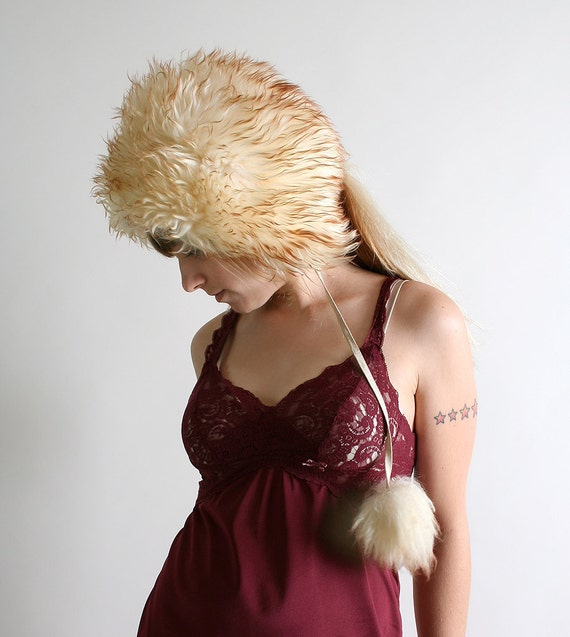 Vintage Fur Hat with Pom Poms - Winter Cream with Brown Tips