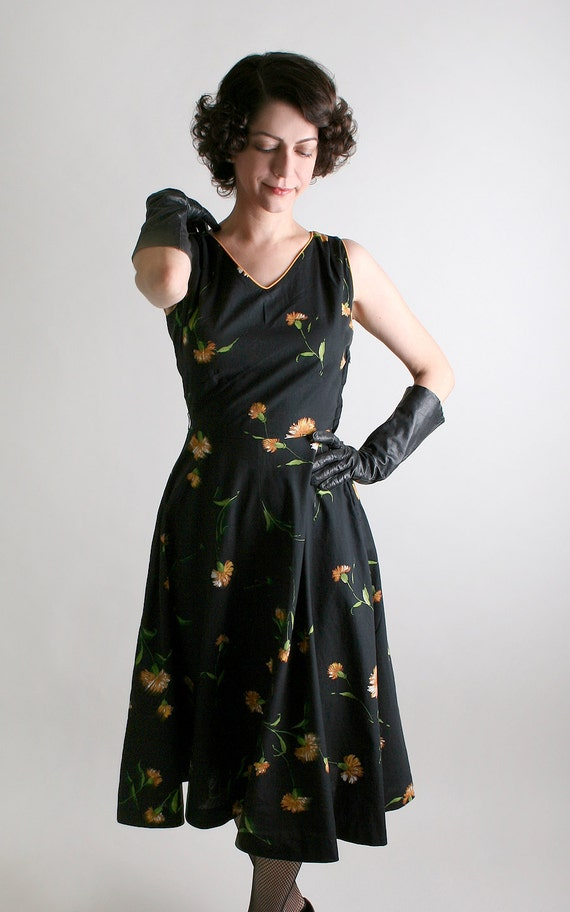 ON HOLD - Vintage 1950s Dress - Johnny E Black with Golden Dandelions - Small Summer Fashion