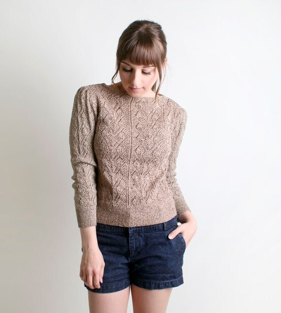Vintage 1980s Gold Sweater - Leaf Knit Golden Thread Top - Small