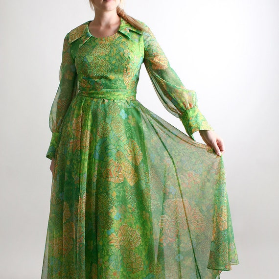 1970s Maxi Dress Sheer Mint Vintage Garden Princess Length Gown - Medium Peridot Fashion