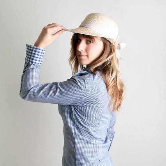 Vintage Fenton Western Blouse - Sky Blue Gingham Heart Shirt -  Small to Medium Prairie Harvest
